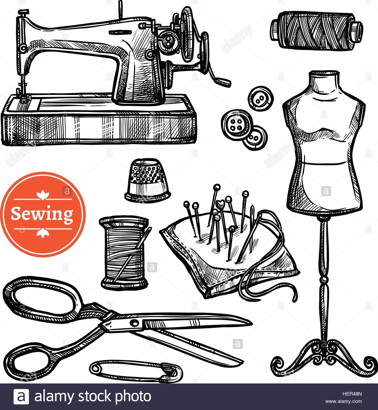 1281x1390 Hand Drawn Sketch Sewing Set. Hand Drawn Sketch Sewing Set