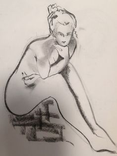 236x316 The Thinker 2 Charcoal Drawing Portraits Nudes Paintings