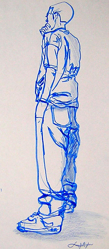 378x860 The Thinker Drawing By Lee Nixon