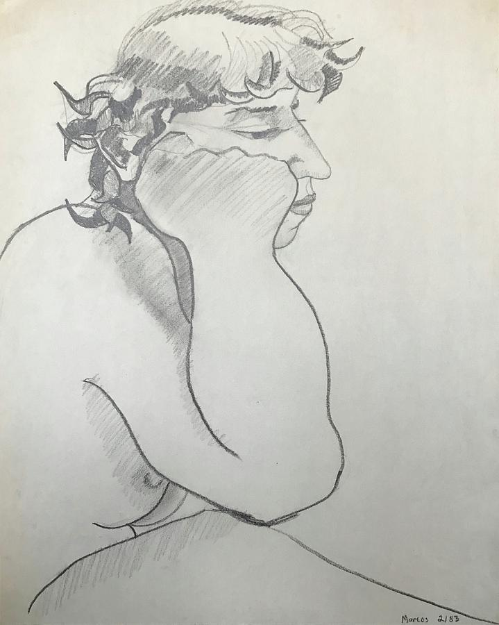 719x900 The Thinker Drawing By Marcos Byrd