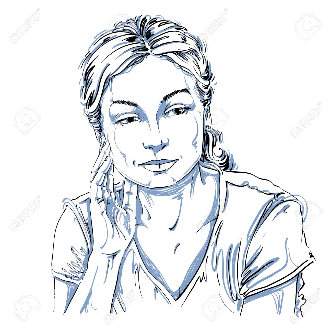 1300x1300 Vector Drawing Of Thinking Woman With Stylish Haircut. Black