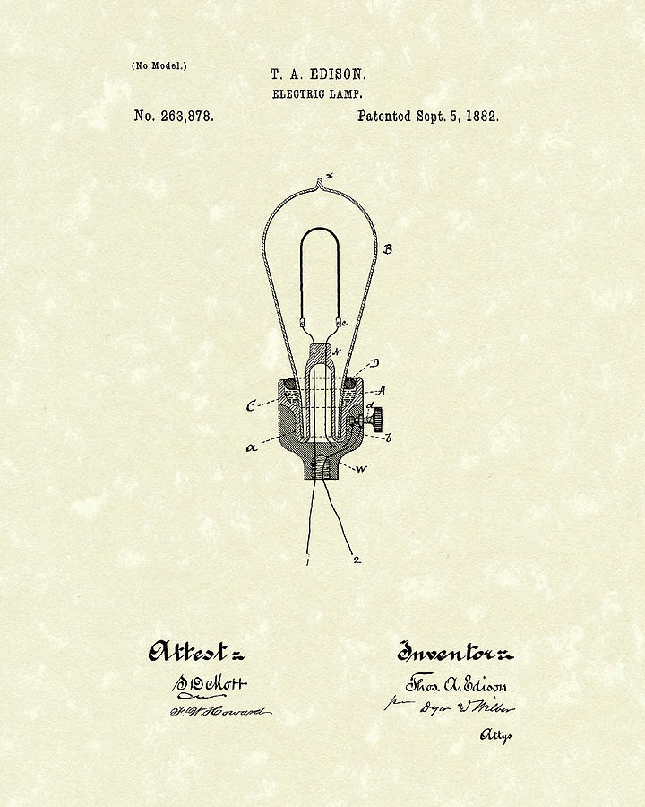 720x900 Edison Electric Lamp 1882 Patent Art Drawing By Prior Art Design
