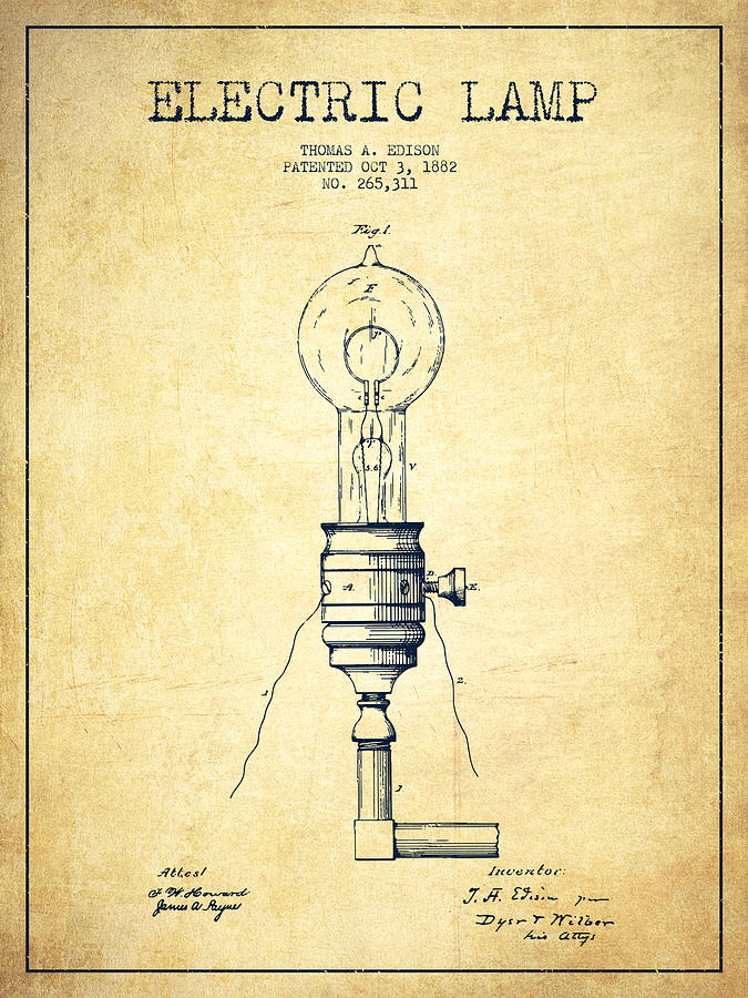 675x900 Thomas Edison Vintage Electric Lamp Patent From 1882