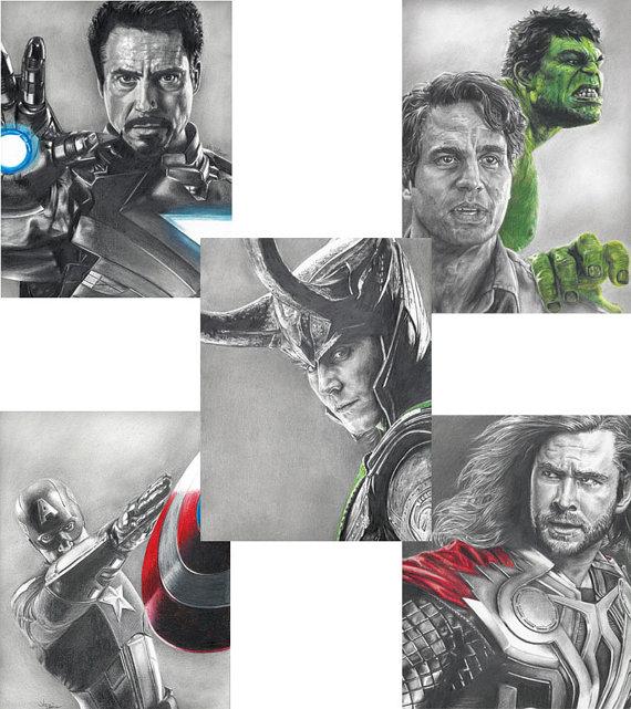 570x641 5 Drawing Prints, Including Loki, Hulk, Thor, Iron Man And Captain