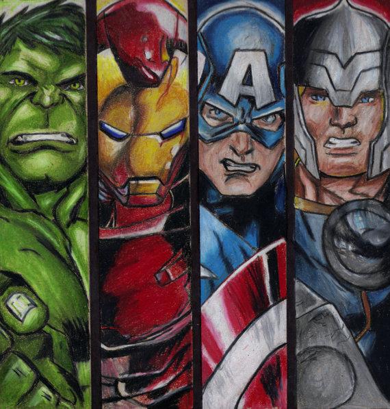 570x597 Avengers 8x10 Art Print Comic Book Drawing Hulk Iron Man Captain