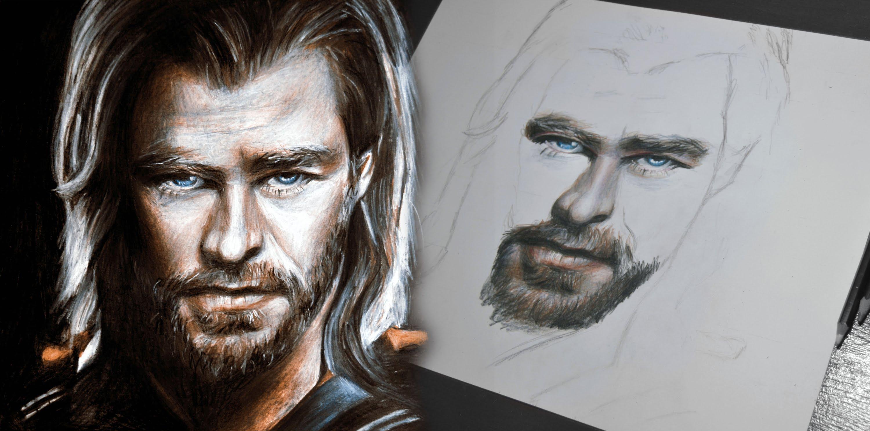 3000x1488 Drawing Thor The Avengers (Chris Hemsworth)