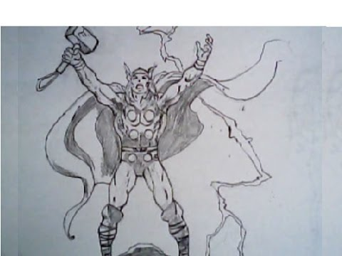480x360 Drawing Thor From The Avengers (Full Body Pose, Marvel Comics
