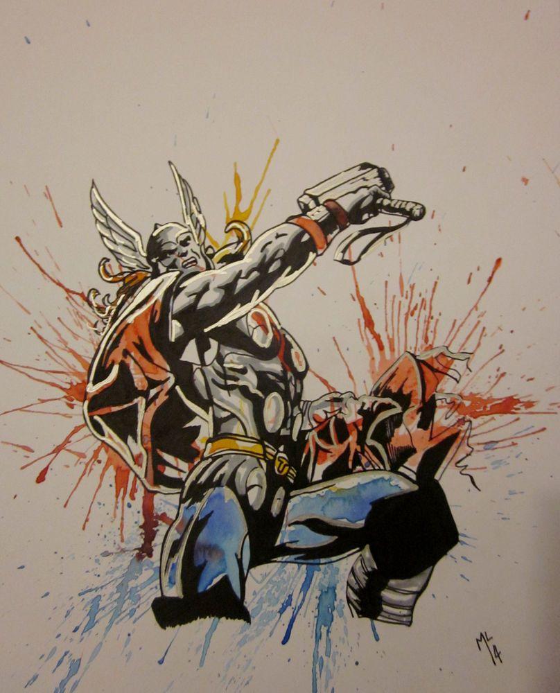 808x1000 Thor,marvel,avengers,artwork,watercolor,painting,drawing,original