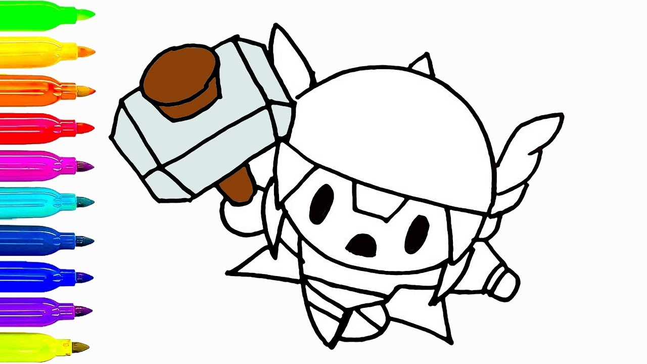 1280x720 Cute Thor Drawing And Coloring For Kids How To Draw Cartoon
