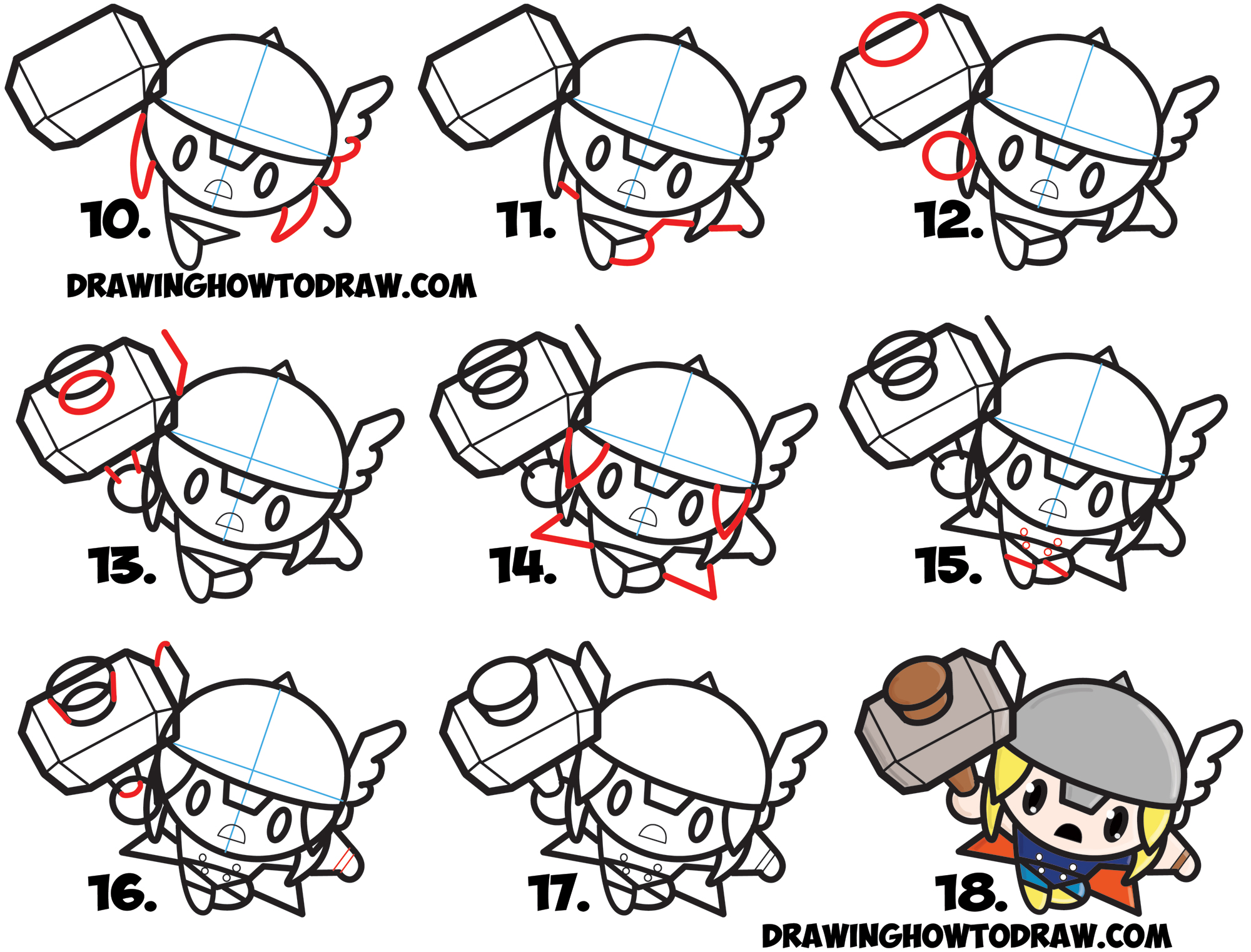 2000x1522 How To Draw Cute Chibi Kawaii Thor From Marvel Comics In Easy