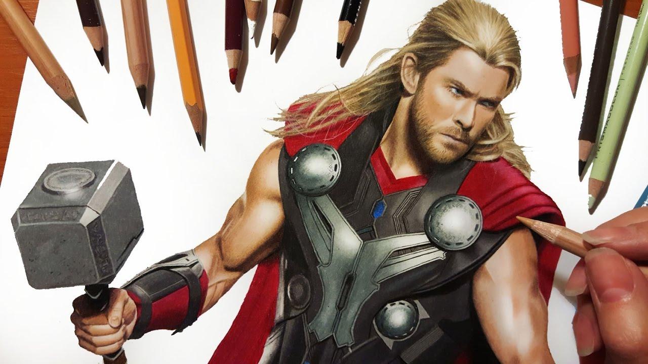 1280x720 Speed Drawing Chris Hemsworth As Thor Jasmina Susak