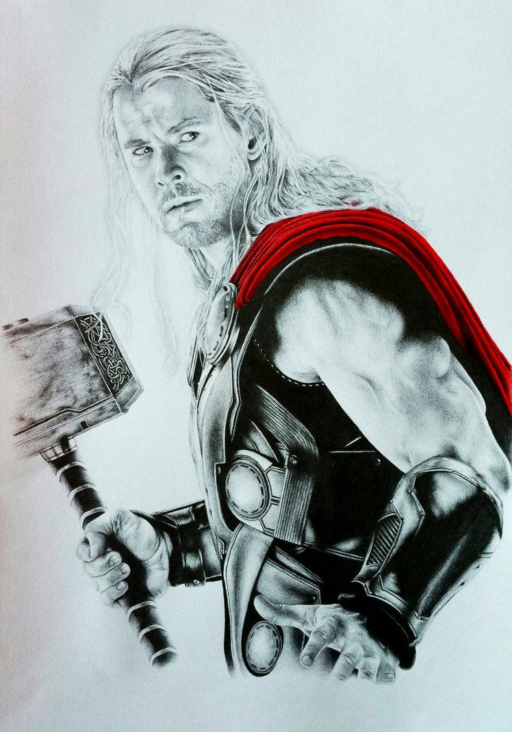 748x1069 Thor Drawing Image Drawing Skill