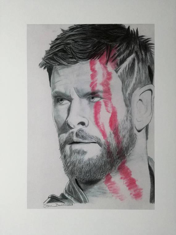 570x760 Thor Ragnarok Print Of Original Drawing