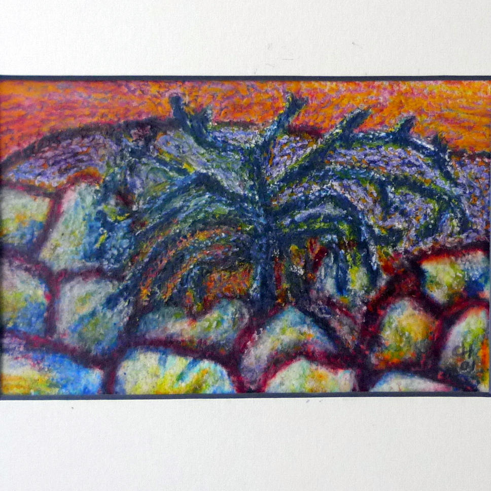 968x968 Pastel Drawing Stone Wall, Small Original Pastel On Paper,thorn