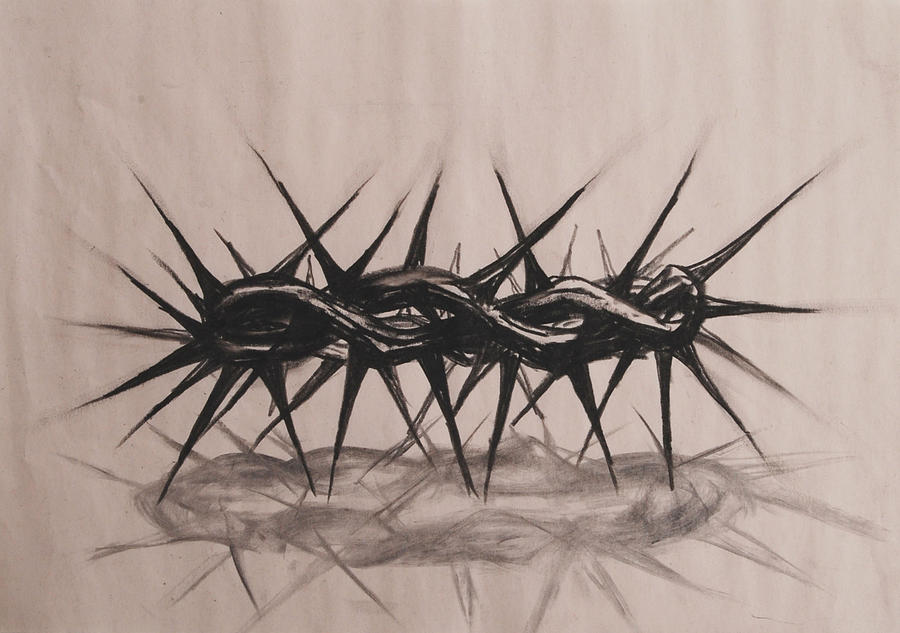 900x633 Crown Of Thorns Drawing By Heidi E Nelson
