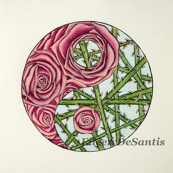 570x569 Pink Roses And Green Stemthorns Yin Yang Drawing Yin Yang