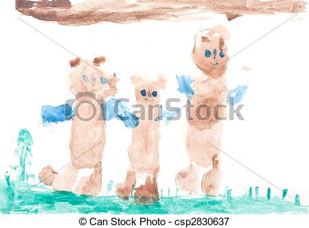 450x332 Baby Drawing Three Bears Drawn On White Sheet Stock Illustrations