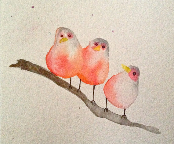 570x471 Three Little Birds Watercolor Painting