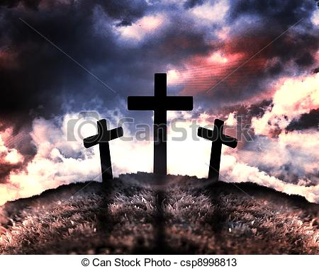 450x380 Silhouette Of Three Crosses On A Hill With A Moon Behind