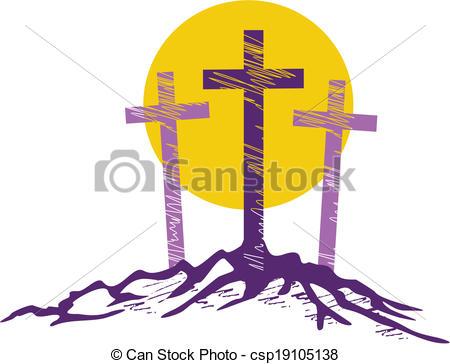 450x364 Three Crosses. Three Stylized Crosses With Large Sun Vectors