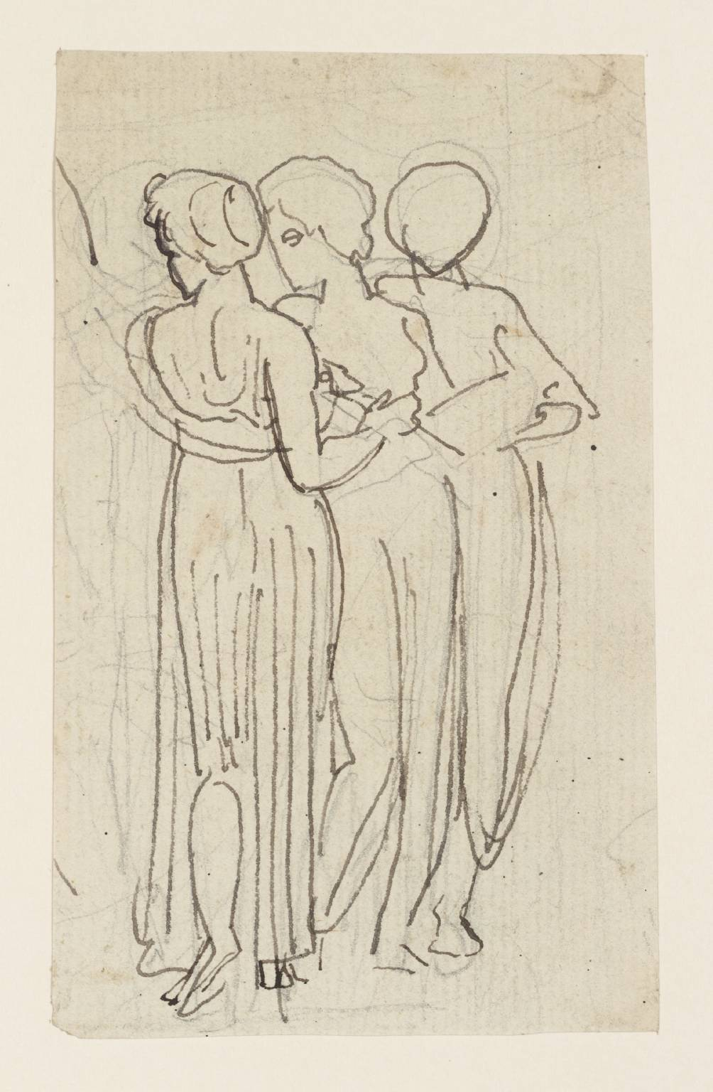 1004x1536 Group Of Three Standing Women. Verso A Larger Drawing', Thomas