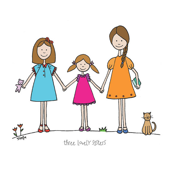 570x569 Sisters Art Print Three Lovely Sisters Drawing Girls Room