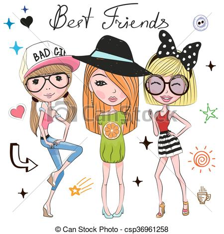 450x470 Three Cute Girls On A White Background Clipart Vector
