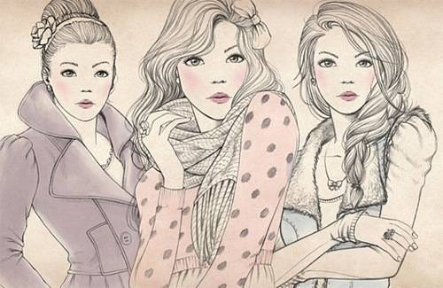 500x325 Three Girls, Drawing Girl Pictures, Third And Girl