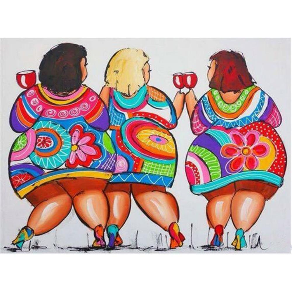 1000x1000 Ya Zooey Nuo Diamond Mosaic Three Girls Drink Wine Crystal Pattern