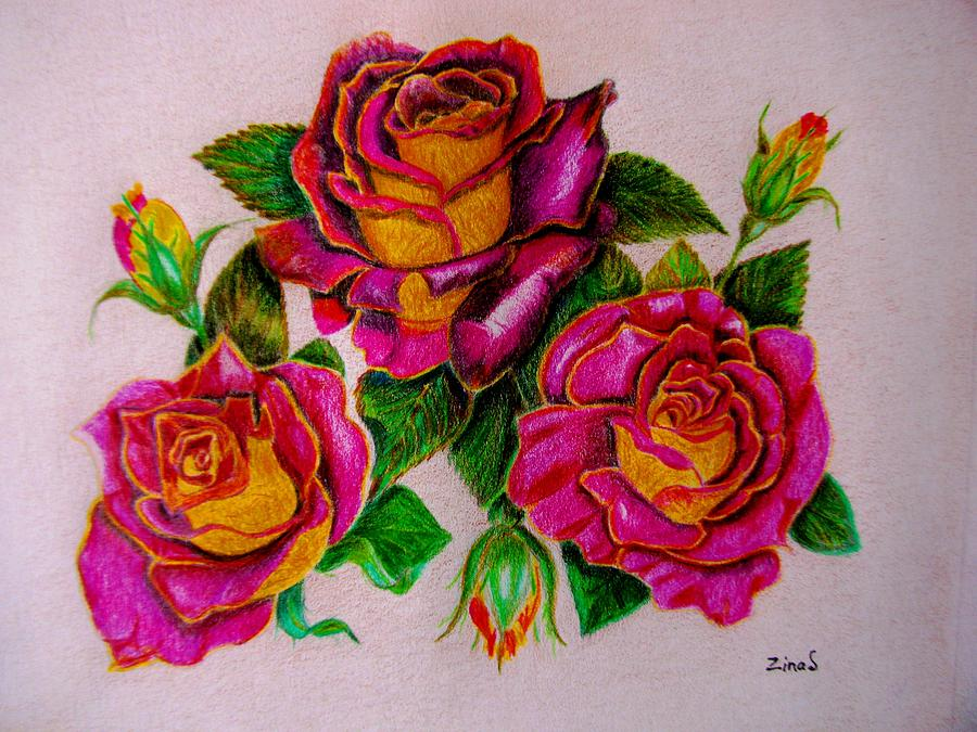 900x675 Three Roses Drawing By Zina Stromberg