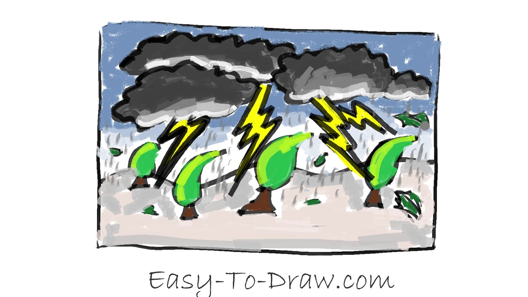 1687x950 How To Draw A Cartoon Thunderstorm Step By Step