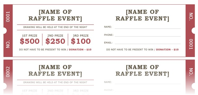 prize tickets template
