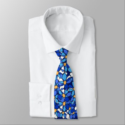 422x422 Eye Catching Colorful Blue Floral Pattern Neck Tie