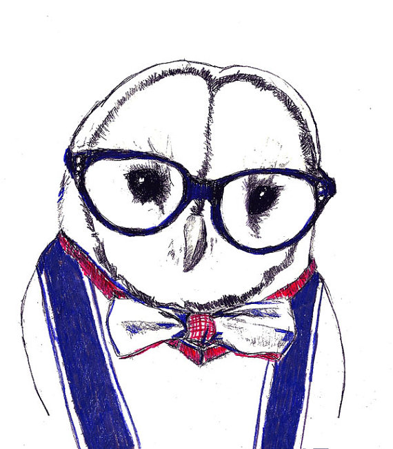 570x650 Owl Drawing Albert Owl All Dressed Up Owl In Bow Tie