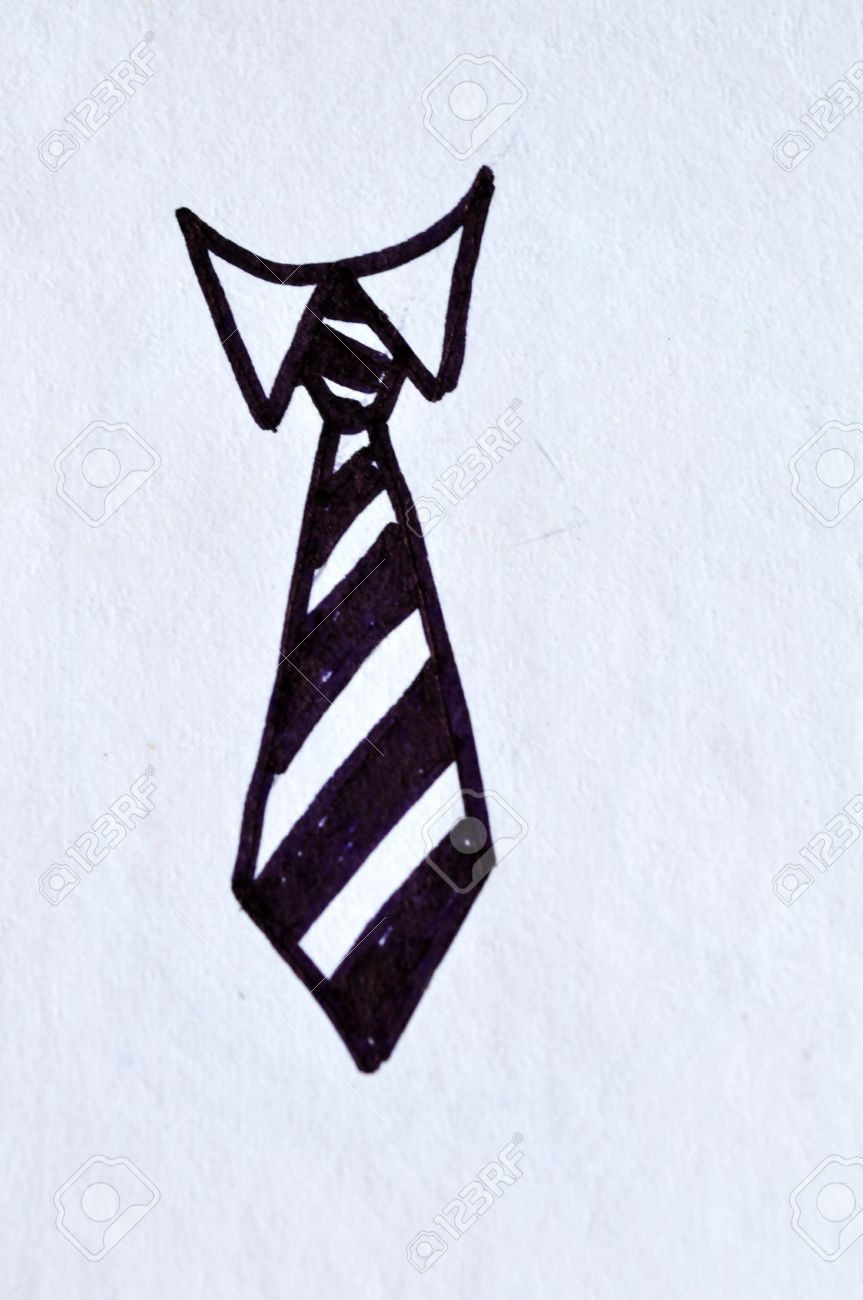 863x1300 Tie Drawing On White Paper Stock Photo, Picture And Royalty Free