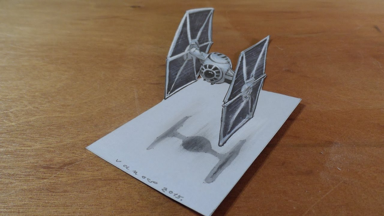 1280x720 Drawing 3d Tie Fighter From The Star Wars Film
