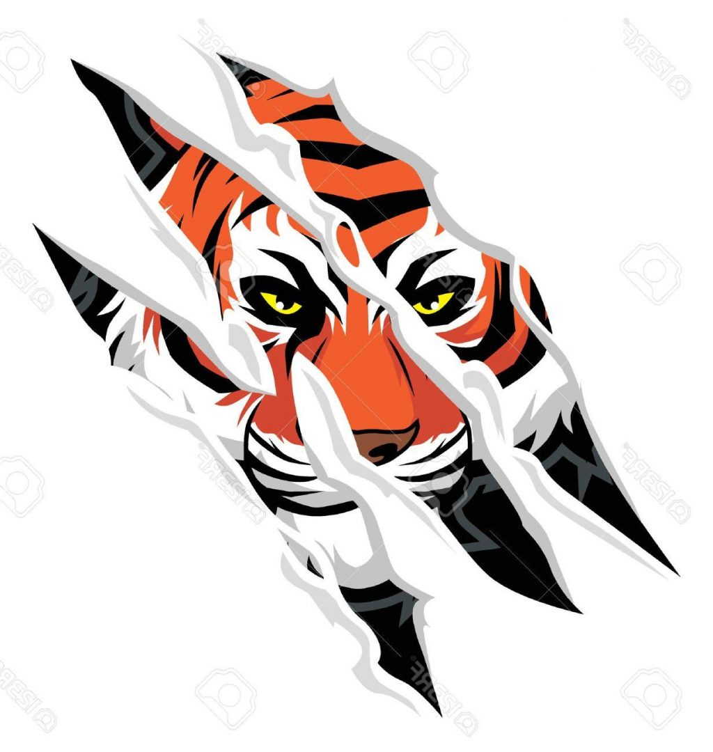 1024x1080 Top Tiger Claw Rip Mark With Face Behind It Cdr