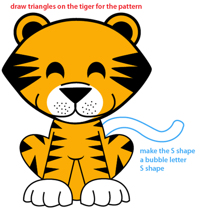 400x425 How To Draw A Cartoon Baby Tiger With Easy Step By Step Drawing