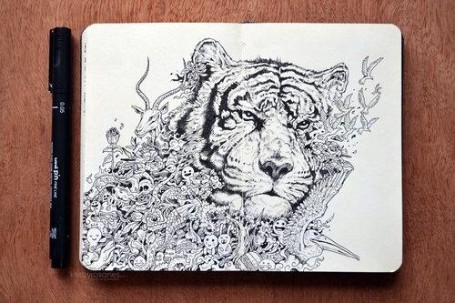 500x333 Moleskine Doodles White Tiger By Kerbyrosanes