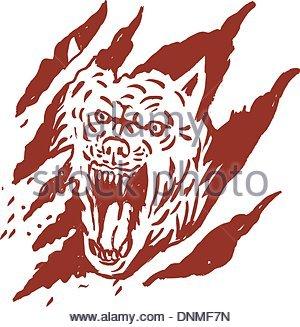 300x327 Angry Wolf Inside Paw Tear Scratch Marks Stock Photo 102932992