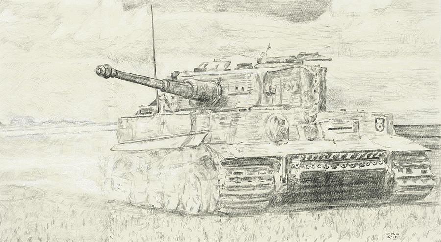 900x494 Tiger Drawing By Dennis Larson
