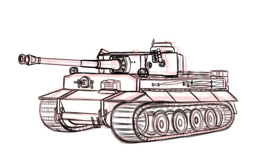 900x562 Tiger Tank Sketch By Otakuwolf