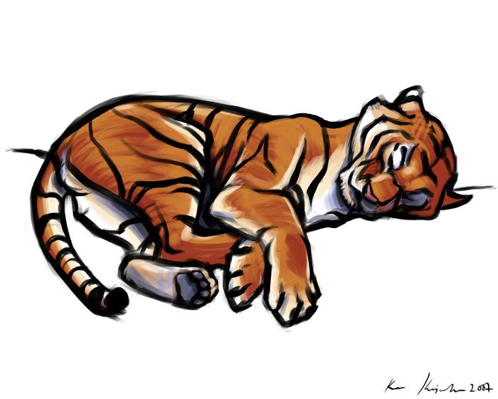 700x560 Sleepy Tiger By Kayjkay Drawing Animals Tigers