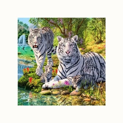400x400 Two Tigers By The River Print Draw Diamond Drawing $3.63 Online