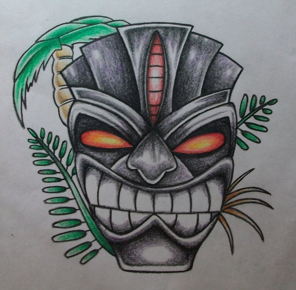 Wooden Tiki Head Drawing Tiki Head Drawing at G...