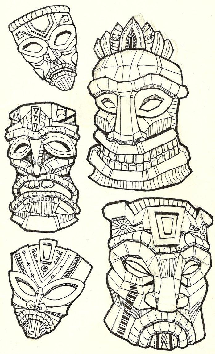 Tiki Head Drawing at GetDrawings.com | Free for personal use Tiki ...