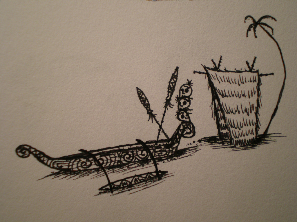 1024x768 Stacked Skull Outrigger Canoe Drawing Amp Tiki Hut Drawing