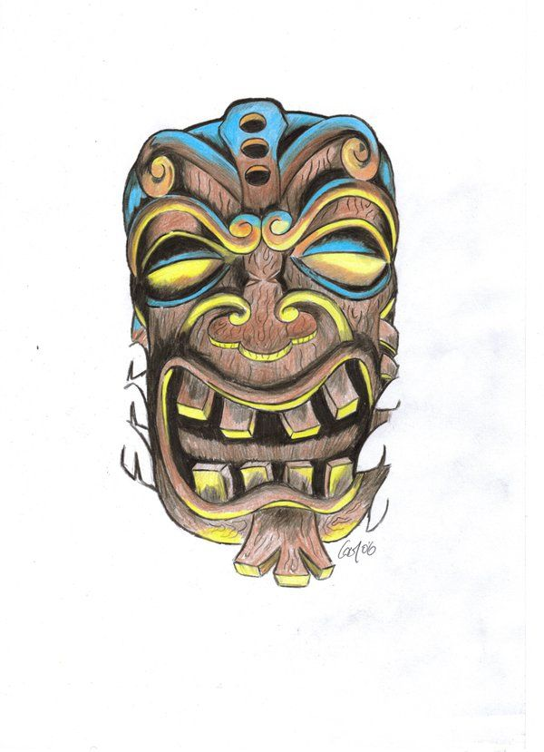 600x829 Tiki Mask By ~colmoconnor Designs Amp Interfaces Tattoo Design
