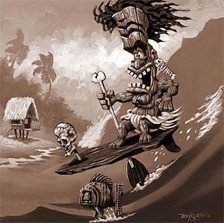 325x324 Tiki, Tiki Art, Crazy Tiki Paintings,hawaii Tribal Art, Tiki Paintings