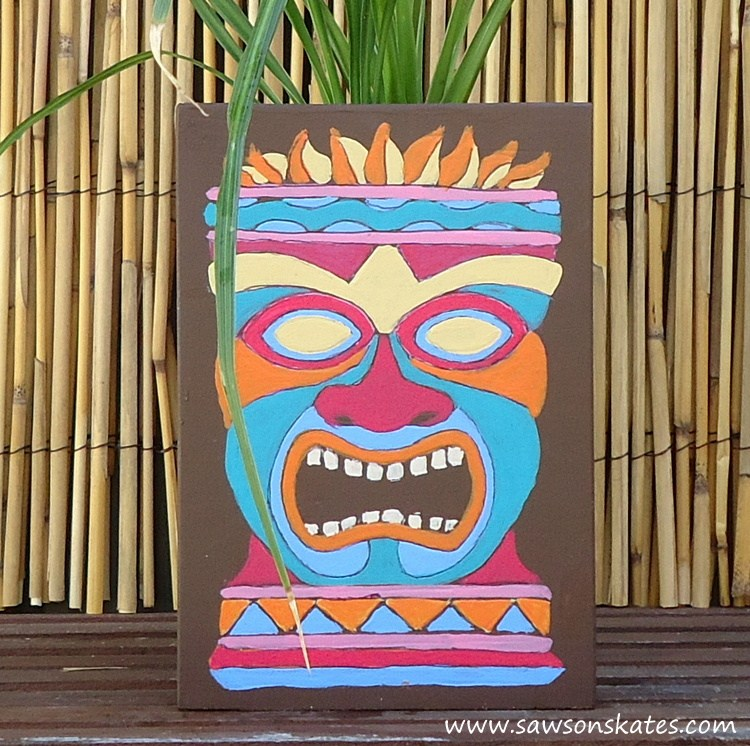 750x746 Diy Painted Wooden Tiki Mask Planter